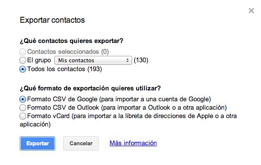 Export contactos